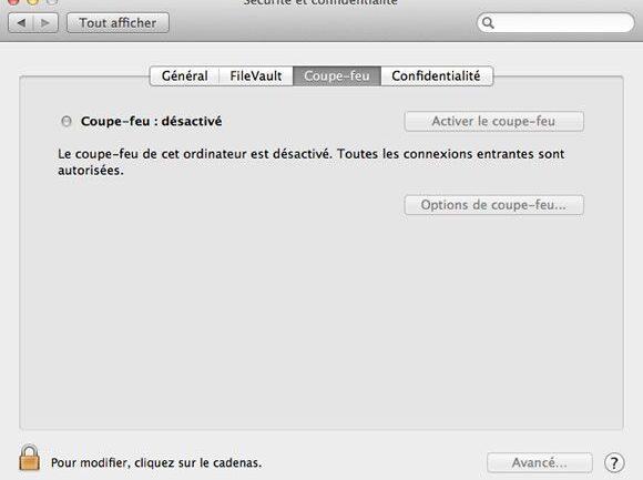 Options de Sécurité et confidentialité, onglet Coupe-feu sous Mac OS X Mountain Lion