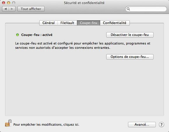 Coupe-feu actif sous Mac OS X Mountain Lion