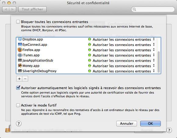 Options avancées de configuration du coupe-feu sous Mac OS X Mountain Lion