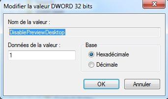 Capture d'écran - Désactiver l'effet de survol sous Windows 7