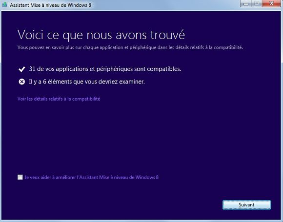 Capture d'écran - Assistant de Mise à niveau de Windows 8