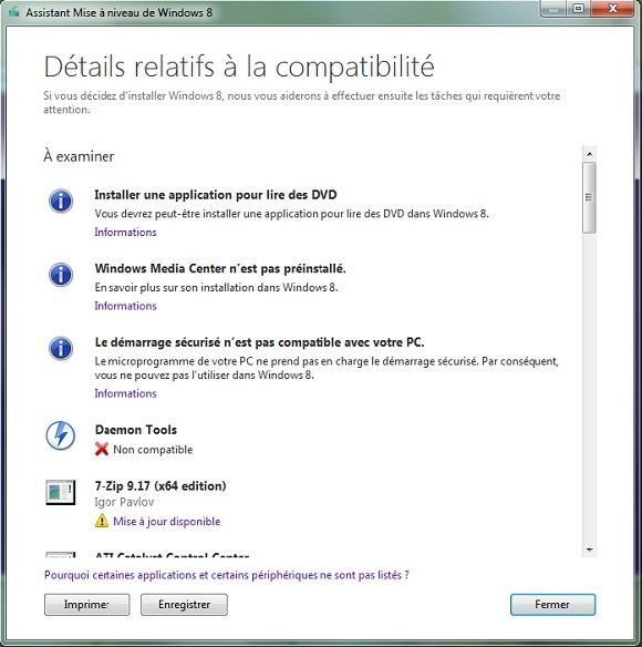 Capture d'écran - Détails d'analyse de l'Assistant de Mise à niveau de Windows 8