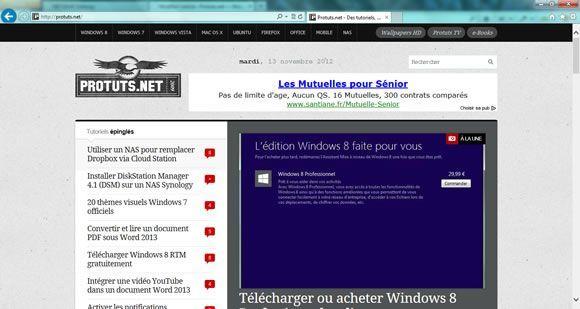 Protuts.net sous IE 10