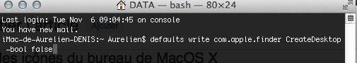Capture d'écran - Terminal, commande de masquer des icônes du bureau