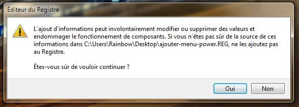Capture d'écran - Message de confirmation d'ajout de clés au Registre Windows
