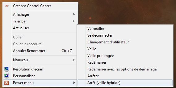 Capture d'écran - Power menu de Windows 7 / 8