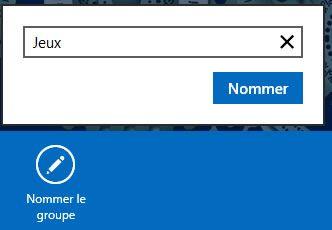 Capture d'écran - Dénomination d'un groupe sous Windows 8