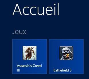Capture d'écran - Un groupe de tuiles dédié aux jeux sous Windows 8
