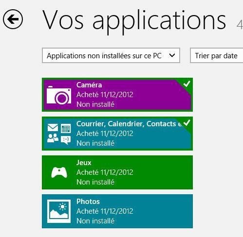 Capture d'écran - Applications Windows 8 installées sur votre PC