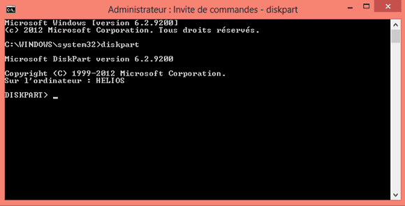Capture d'écran - Invite de commandes Windows, gestion des disques
