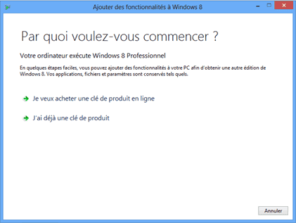 Activation de la clé produit pour Windows Media Center