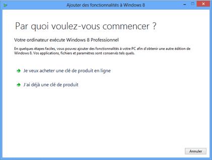 Activation de la clé produit pour Windows Media Center