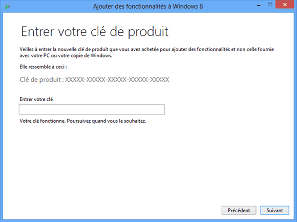 Saisie de la clé d'activation de Windows Media Center pour Windows 8