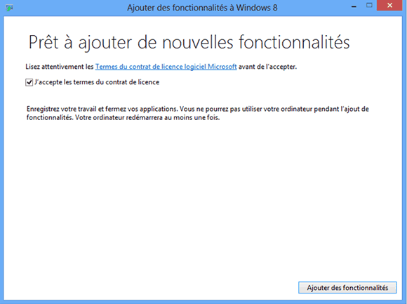 Termes du contrat de licence utilisateur de Windows Media Center