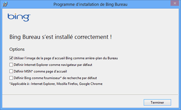 Capture d'écran - Installation de Bing Desktop