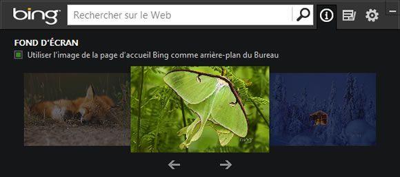 Capture d'écran - Choix du fond d'écran dans Bing Desktop