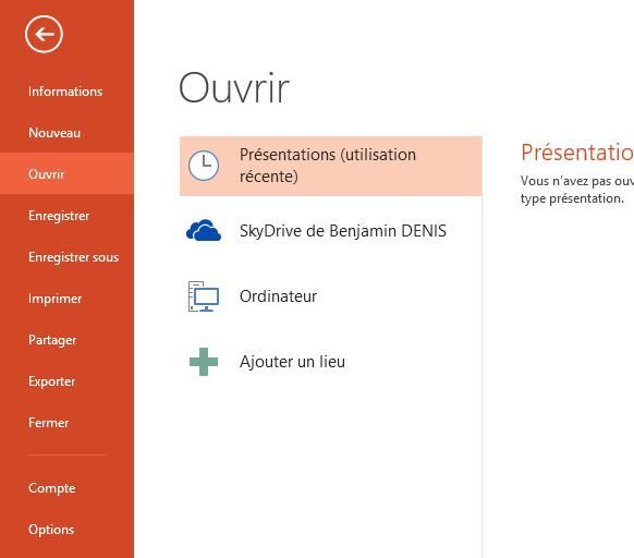 Capture d'écran - Menu Office 2013 de PowerPoint