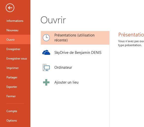Capture d'écran - Menu Office 2013 de PowerPoint