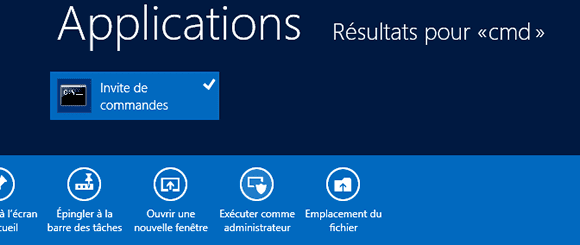 Invite de commandes sous Windows 8