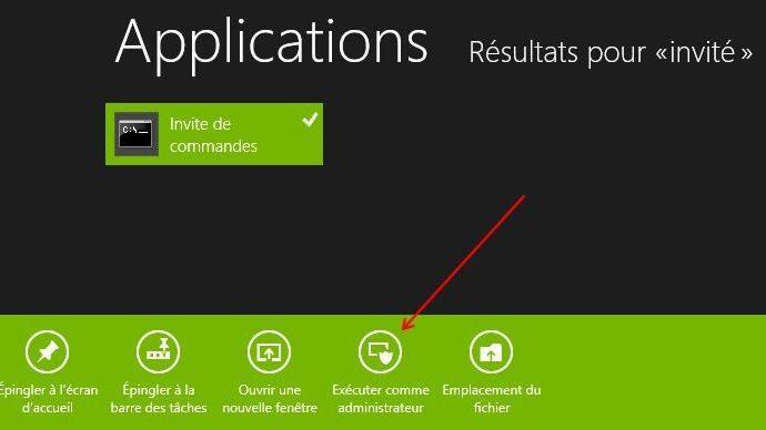 Capture d'écran - Exécuter l'invité de commandes en mode administrateur sous Windows 8
