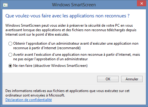 Capture d'écran - Options de configuration de Windows SmartScreen