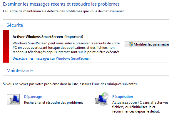 Capture d'écran - Désaction messages d'alerte Windows SmartScreen, Centre de Maintenance