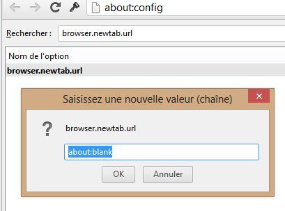 Capture d'écran - Modification de browser.newtab.url