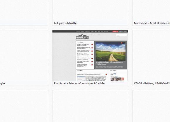 Capture d'écran - Aperçu de la page Nouvel Onglet sous Firefox