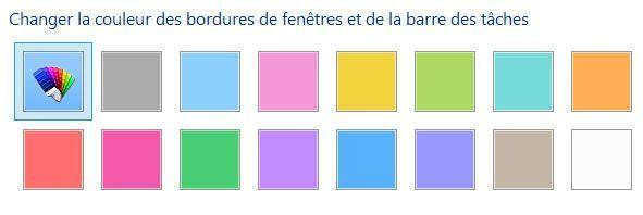 Capture d'écran - Choix de la couleur des bordures/barre des tâches, Windows 8