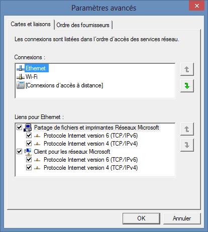 Capture d'écran - Options avancées, onglet Cartes et Liaisons, Windows 8