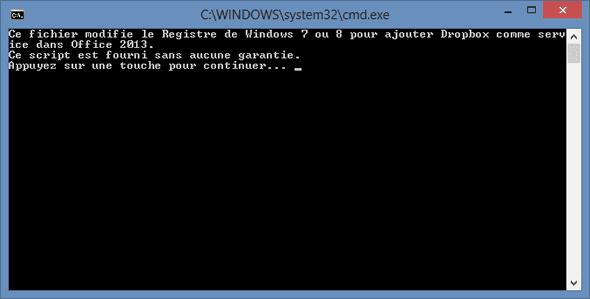 1ère étape du script pour ajouter Dropbox à Office 2013