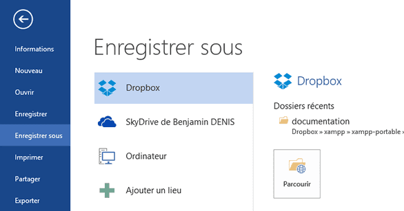 Ajout de Dropbox à Office 2013 terminé