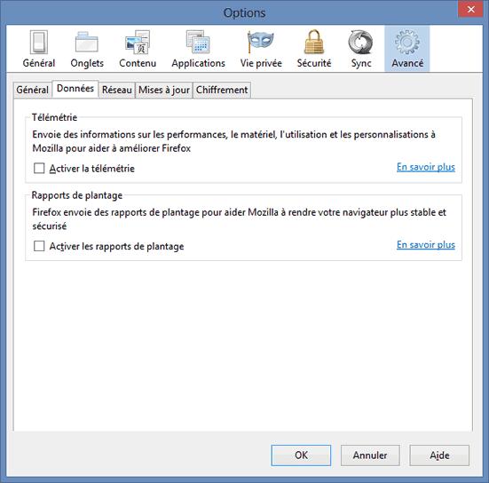 Options Avancées - Partie Données de Firefox 20