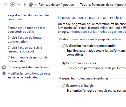 Capture d'écran - Options d'alimentation de Windows 8