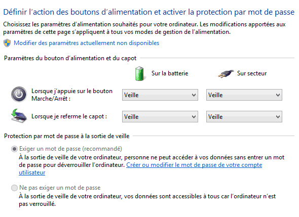Capture d'écran - Options d'alimentation, Paramètres système, Windows 8