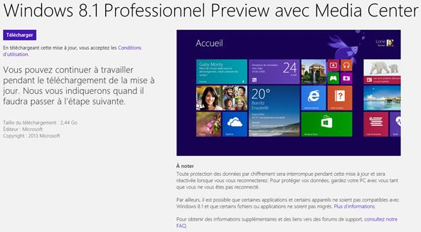 Capture d'écran - Téléchargement de Windows 8.1, Windows Store