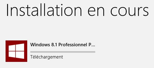 Capture d'écran - Téléchargement en cours de Windows 8.1