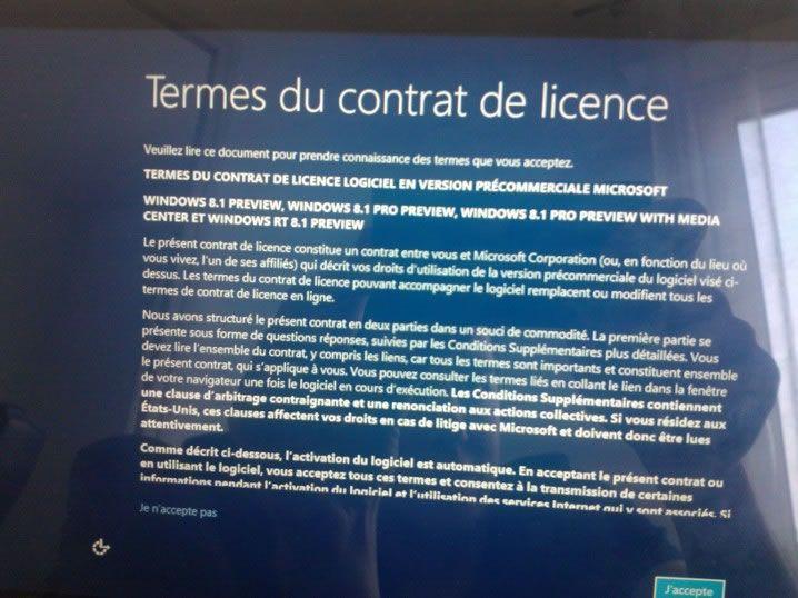 Capture d'écran - Les termes du contrat de licence de Windows 8.1, à lire si le coeur vous en dit