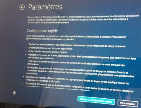 Capture d'écran - Paramètres de configuration de Windows 8.1