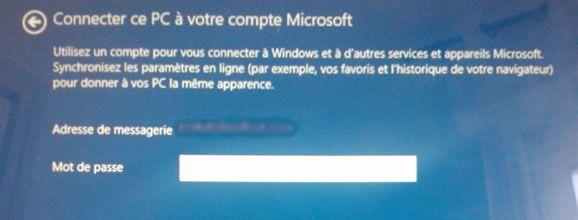Capture d'écran - Connexion au compte Microsoft, Windows 8.1
