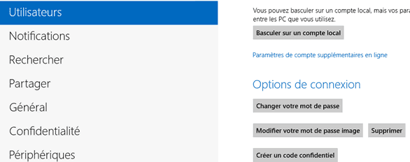 Capture d'écran - Options Utilisateurs de Windows 8