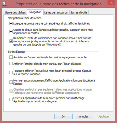 Capture d'écran - Options de configuration de la barre des tâches sous Windows 8.1