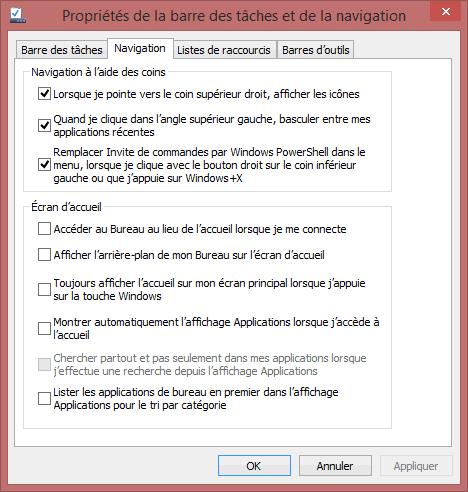 Capture d'écran - Options de configuration de la barre des tâches sous Windows 8.1