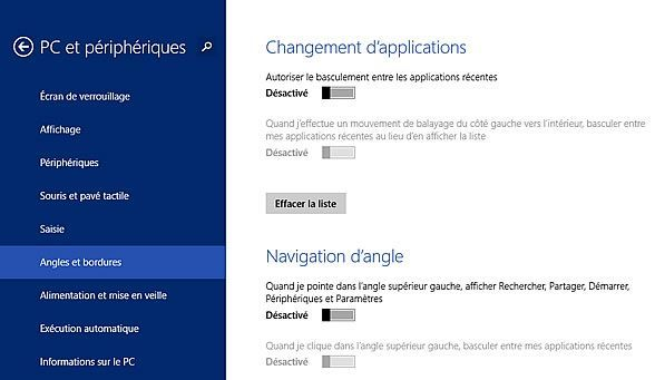 Capture d'écran - Options de configuration, Angles et bordures sous Windows 8.1
