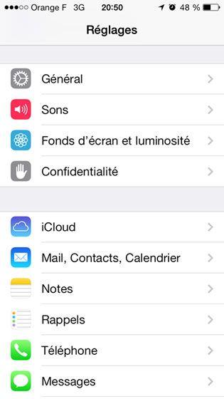 Capture d'écran - Paramètres d'iOS 7