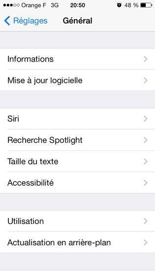 Capture d'écran - Paramètes généraux d'iOS 7