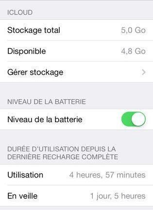 Capture d'écran - Paramètres d'utilisation d'iOS 7