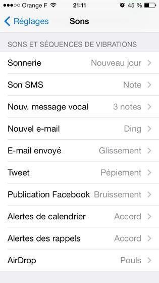 Capture d'écran - Paramètres de sons, iOS 7