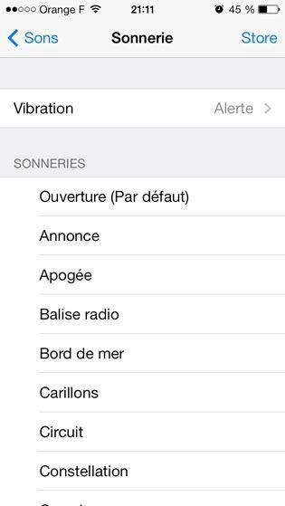 Capture d'écran - Paramètres de sonnerie, iOS 7