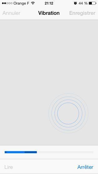 Capture d'écran - Création d'une sonnerie vibreur sous iOS 7